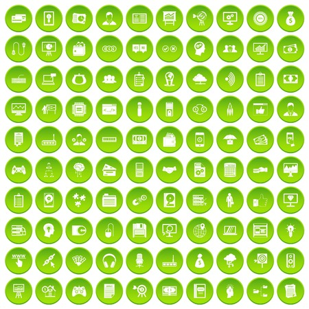 100 IT business icons set green circle