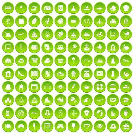 100 모성 아이콘이 녹색 원으로 설정 일러스트