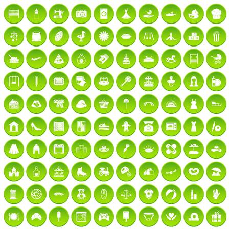 100 motherhood icons set green circle