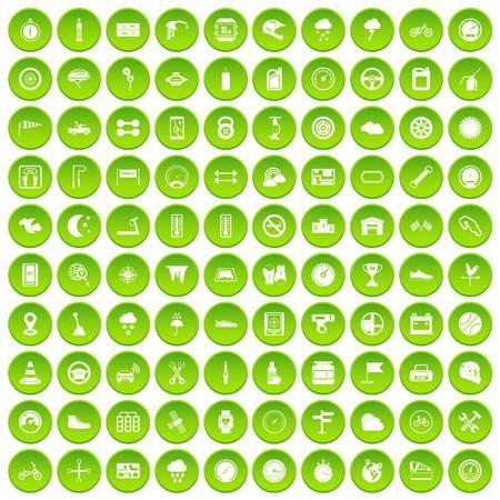 100 motorsport icons set green circle