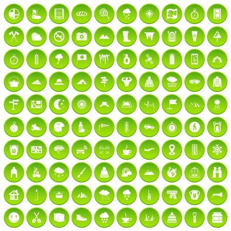 mountaineering: 100 mountaineering icons set green circle