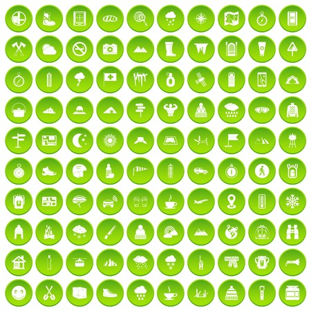 100 mountaineering icons set green circle