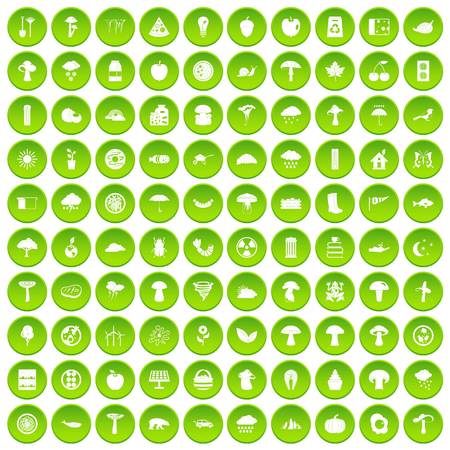 100 mushrooms icons set green circle