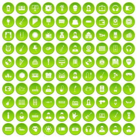 operetta: 100 music icons set green circle Illustration