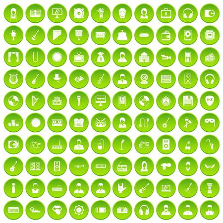 100 music icons set green circle Illustration