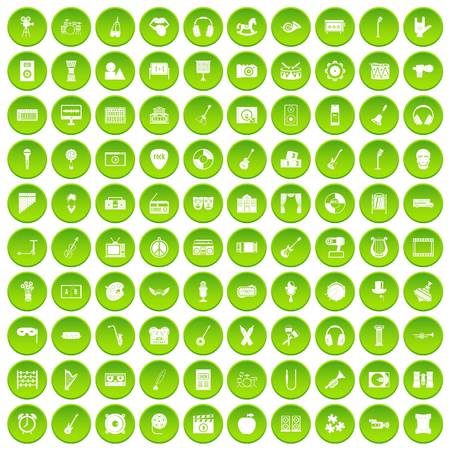 100 musical education icons set green circle Illustration