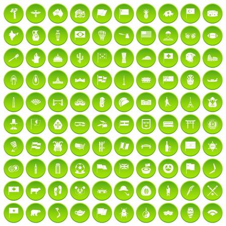 100 national flag icons set green circle