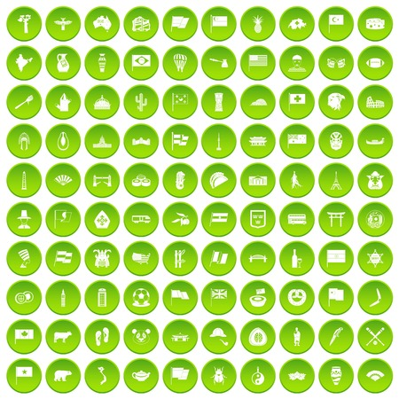 100 national flag icons set green circle