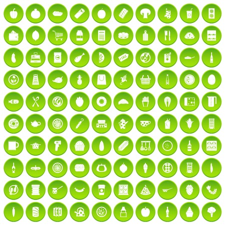 100 lunch icons set green circle