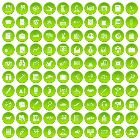 100 magnifier icons set green circle Illustration
