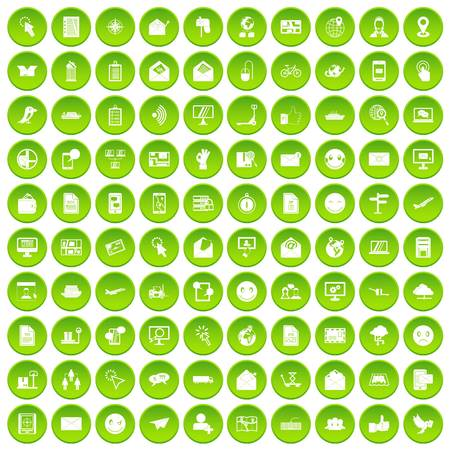 100 mail icons set green circle Illustration
