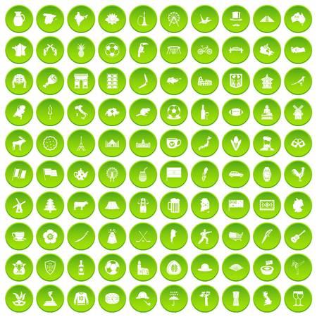 100 map icons set green circle