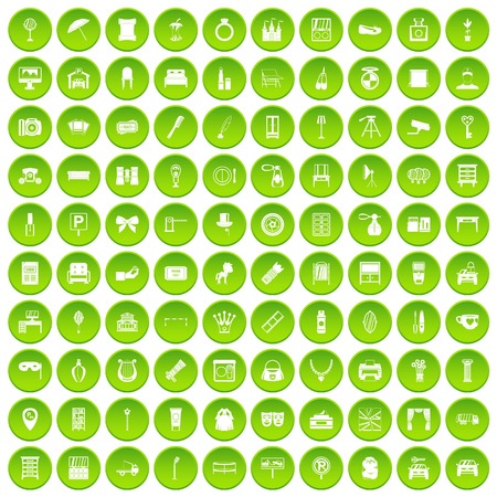 100 mirror icons set green circle
