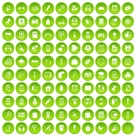 100 mobile app icons set green circle Illustration