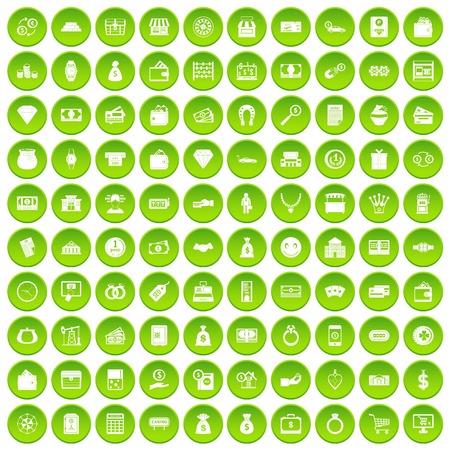 100 money icons set green circle