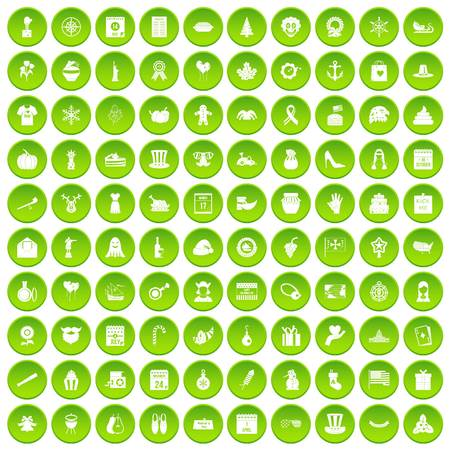 100 national holiday icons set green circle