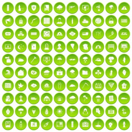 100 Naturkatastrophenikonen stellten grünen Kreis ein