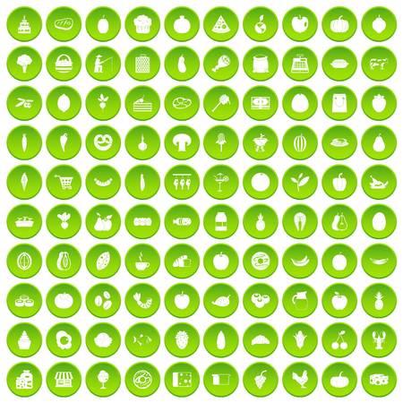 100 natural products icons set green circle Illustration