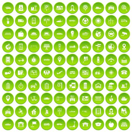 100 navigation icons set green circle Illustration
