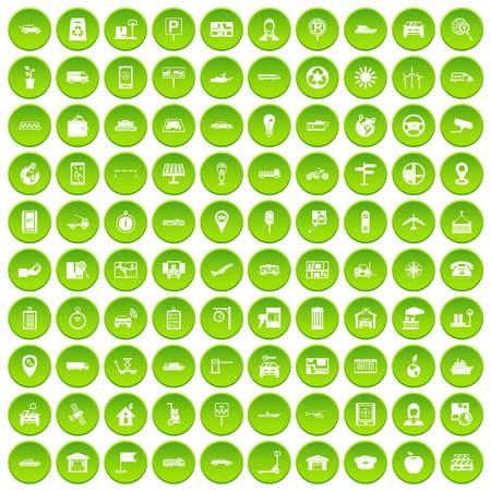 100 navigation icons set green circle Illustration