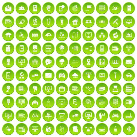 100 network icons set green circle Illustration