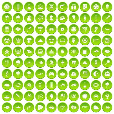 100 research icons set green circle