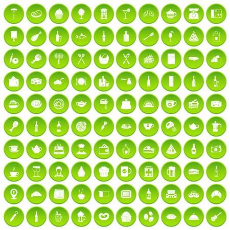 100 restaurant icons set green circle