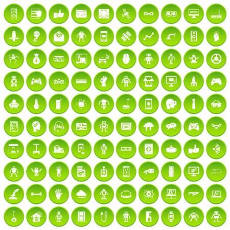100 robot icons set green circle