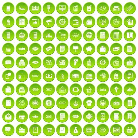 100 sale icons set green circle
