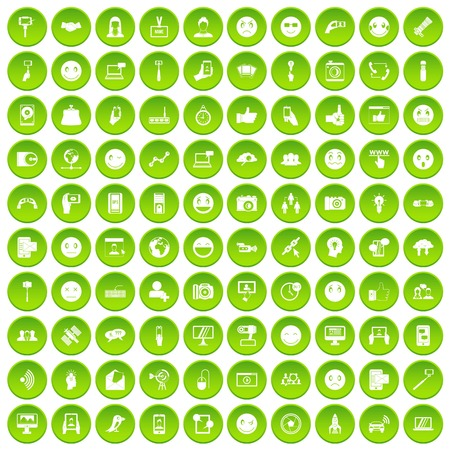100 social media icons set green circle