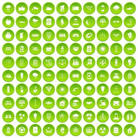100 solar energy icons set green circle