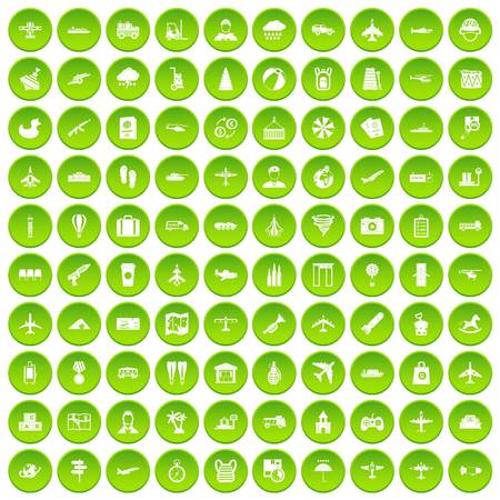 100 plane icons set green circle