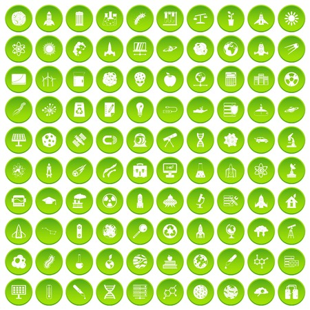 100 space icons set green circle