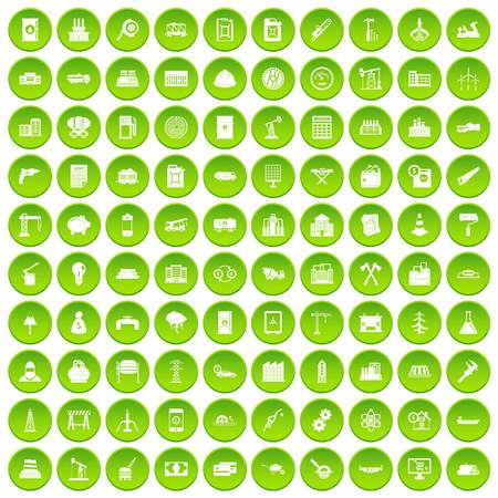 100 plant icons set green circle Illustration