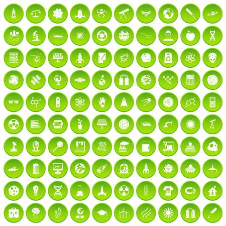 100 space technology icons set green circle