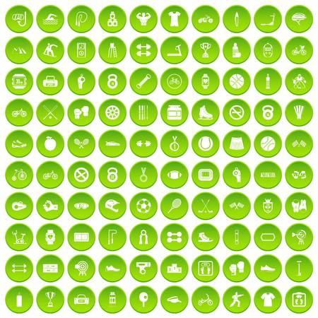 100 sport icons set green circle