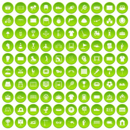 100 playground icons set green circle
