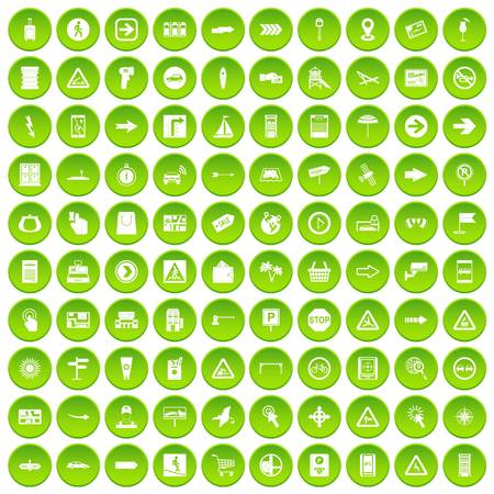 100 pointers icons set green circle
