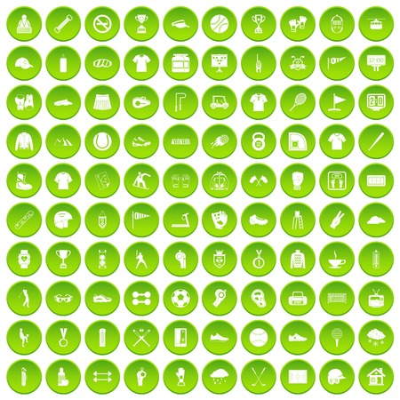 100 sport club icons set green circle Illustration