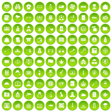 100 police icons set green circle