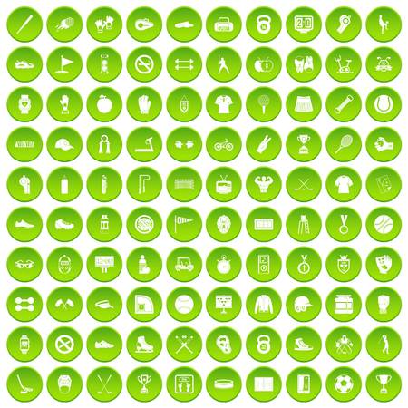 100 sport equipment icons set green circle
