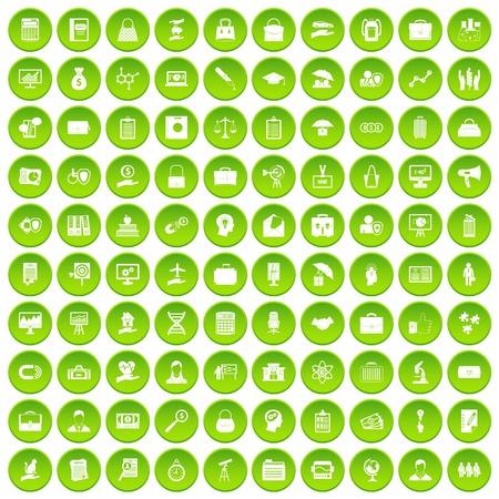 100 portfolio icons set green circle Illustration