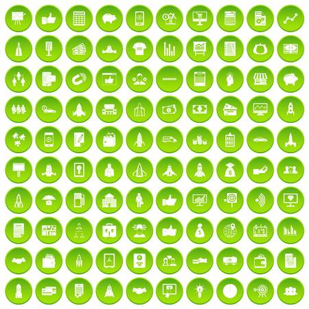 100 startup icons set green circle