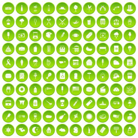 100 street food icons set green circle