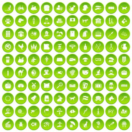 100 pets icons set green circle