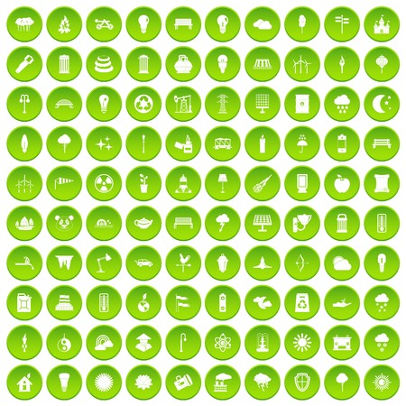 100 street lighting icons set green circle Illustration