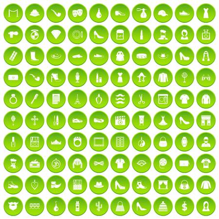 stage makeup: 100 stylist icons set green circle