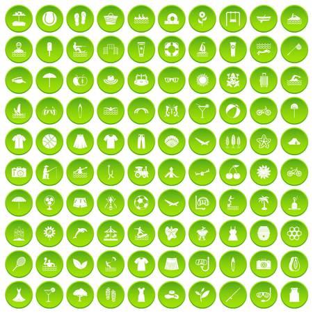 100 summer icons set green circle
