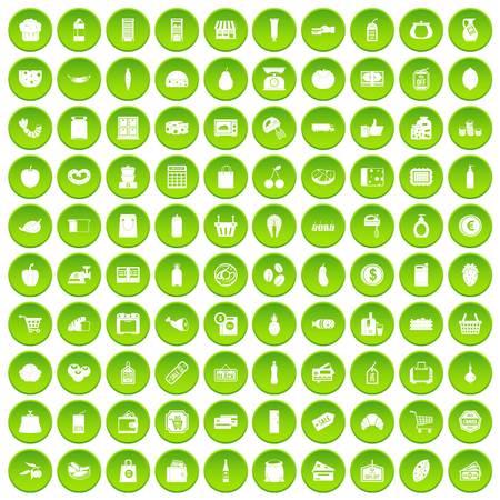 change purse: 100 supermarket icons set green circle Illustration
