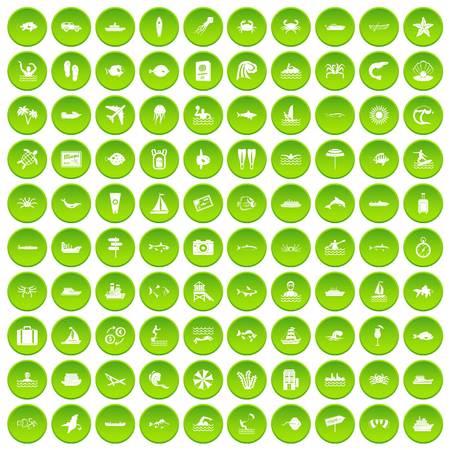 100 ocean icons set green circle Çizim